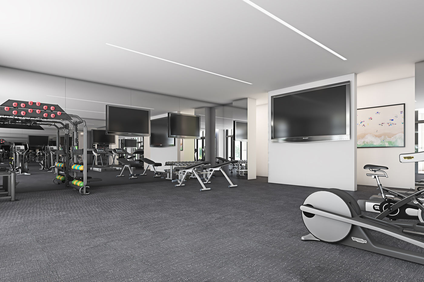Fitness Center At The Henry Apartments in Coral Gables, FL.