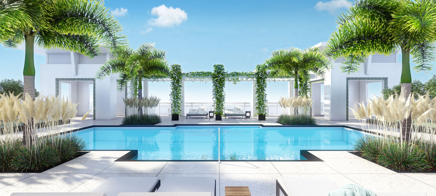 Rooftop Pool At The Henry Apartments in Coral Gables, FL.